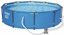 Bestway Steel Pro Max Stahlrahmenpool Set mit Filterpumpe, blau, 305 x 305 x 76 cm