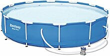 Bestway Steel Pro Stahlrahmenpool mit Filterpumpe, 6473 L, blau, 366 x 366 x 76 cm