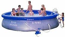 Bestway Swimmingpool 457 x 107 cm Komplett-Set mit Pumpe, Filter, Einstiegsleiter, Wartungsset und Abdeckplane