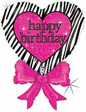 Betarly 85889P Folienballon Geburtstag Zebra Herz