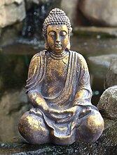 Betende Buddha Statue Groß, Gold, frostsicher und wetterbeständig, 20 x 30 x 45 cm, Einfach ansprechend, Buddha-Figur sitzend, Deko-Artikel, Buddha-Skulptur, Wohnaccessoire, Garten, Balkon, Terasse