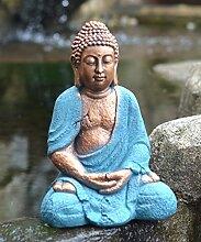 Betende Buddha Statue Klein, wetterbeständig und frostsicher, 23 x 17 x 33 cm, Kunstharz, Gartendeko, Garten