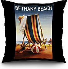 Bethany Beach, Delaware - Beach Chair and Ball (20x20 Spun Polyester Pillow Case, Black Border)