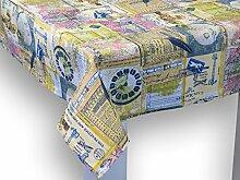 """beties """"Zeitreise"""" Tischdecke ca. 130x130 cm in großer Sortiments- und Größenauswahl – ein historischer Abstecher durch die Epochen unserer Zeit im Postkarten-Stil (Farbe: greenery-mix)"""