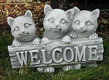 Beton Figur 3 Katzen klein mit Schild Welcome H 20