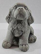 Beton Figur Hund Welpe sitzend H 18 cm Dekofigur