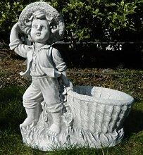 Beton Figur Junge mit Pflanztopf H 40 cm Dekofigur und Gartenskulptur