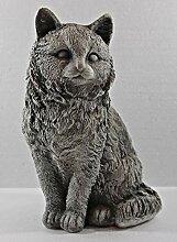 Beton Figur Katze gerade sitzend H 26 cm Dekofigur
