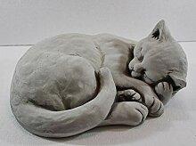 Beton Figur Katze liegend und schlafend H 16 cm
