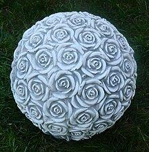 Beton Figur Kugel mit Rosenmotiv H 21 cm Dekoelement und Gartenskulptur