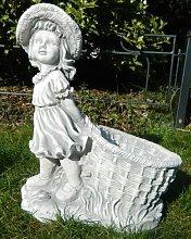 Beton Figur Mädchen mit Pflanztopf H 40 cm Dekofigur und Gartenskulptur