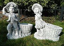 Beton Figur Mädchen und Junge mit Pflanztopf 2-er