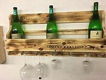 Beton-Inside Weinhängeregal 5 Glashalter Geflammt