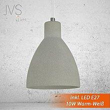 Beton-Lampe Beton-Leuchte LED E27 Pendel-Lampe Hänge-Leuchte LONDON (Farbe: Beton-Hell) Vintage Industrieleuchte Wohnzimmerlampe Modern Betonfassung mit Textilkabel Vintagelampe für Wohnzimmer / Küche / Büro / Praxis inkl. 10W LED Wamrweiss