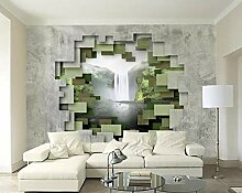 Betonwand-Wasserfall-Fototapete der festen Tapete