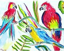 Betsy Drake DREI Papageien Wand-Außenleuchte