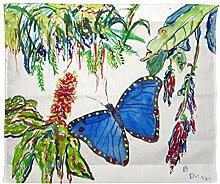 Betsy Drake Morpho und Blumen Wand-Außenleuchte