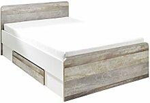 Bett 140 x 200 cm in Driftwood/ weiss mit 2 Schubkästen