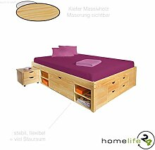 Bett 140x190 cm Doppelbett Stauraumbett Funktionsbett natur Rost Kiefer massiv