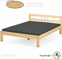 Bett 140x200 cm Doppelbett Holzbett Massivholzbett natur lackiert Kiefer massiv