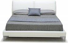 Bett 160x200 mit 2 Kopfstützen und verchromten