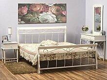 Bett 'Venezia Weiß' Bettgestell Ehebett Doppelbett Weiß Metallbett 120x200