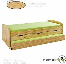 Bett 90x200 cm Kinderbett Funktionsbett Kojenbett Gästebett Massivholzbett natur Schubladen NEU