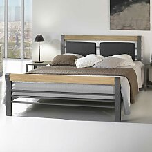 Bett aus Eisen Eiche Massivholz