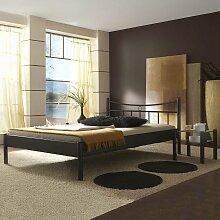 Bett aus Eisen Schwarz mit Nachttisch (2-teilig)