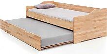 Bett aus Kernbuche Massivholz Ausziehbett