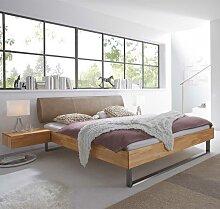 Bett aus Kernbuche Massivholz mit gepolstertem