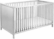 Bett - Babybett - Kinderbett inkl. Matratze mit Farbauswahl (Whitewash)