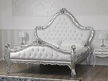 Bett Barock Modern doppelbett Blatt Silber Kunstleder weiß Knöpfen Swarovski