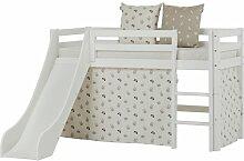 Bett Basic mit Rutsche und Vorhang