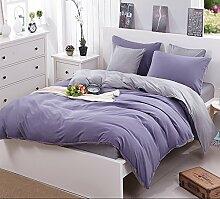 Bett Baumwolle Vierstück Einfache Solid Color Bettwäsche Denim Bettwäsche aus Baumwolle Quilt Family Of Four Bettwäsche-Sets von vier ( größe : 1.8m Bed )