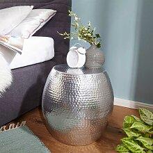 Bett Beistelltisch aus Aluminium Fassform