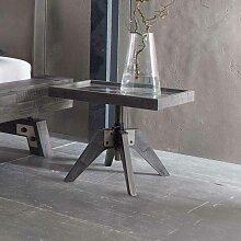Bett Beistelltisch in Grau Akazie massiv Glasplatte