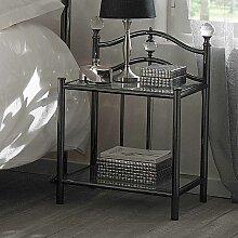 Bett Beistelltisch in Schwarz Nickel Stahl