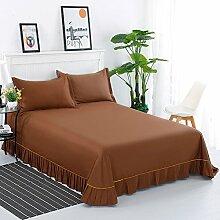 Bett bettwäsche aus baumwolle,Spitzen-design Blatt lotus leaf edge Prinzessin-stil Volltonfarbe Baumwolle Schlafzimmer Hotels-C 200x250cm(79x98inch)
