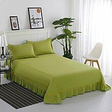 Bett bettwäsche aus baumwolle,Spitzen-design Blatt lotus leaf edge Prinzessin-stil Volltonfarbe Baumwolle Schlafzimmer Hotels-A 200x250cm(79x98inch)