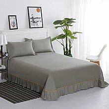 Bett bettwäsche aus baumwolle,Spitzen-design Blatt lotus leaf edge Prinzessin-stil Volltonfarbe Schlafzimmer Hotels]-D 265x250cm(104x98inch)