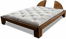 Bett Centurio Erle massiv Futonbett von Futononline 120 x 200 cm, Erle Teak gebeizt, Lehne Mezzo