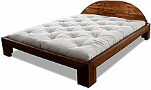 Bett Centurio Erle massiv Futonbett von Futononline 180 x 200 cm, Erle Nussbaum gebeizt, Lehne Tondo