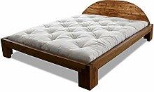 Bett Centurio Erle massiv Futonbett von Futononline 90 x 200 cm, Erle Teak gebeizt, Lehne Tondo