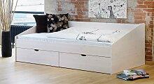 Bett Dänemark Bett mit Bettkasten 90x200 cm weiß