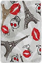 Bett Decke, Eiffelturm Lippen Vintage bedrucktes Weiches Polyester mit Fleece Groß für Überwurf Stuhl Bezug Reise Schlafzimmer Wohnzimmer Dekoration Zubehör Erwachsene Mädchen Jungen Herren Frauen 152,4x 228,6cm