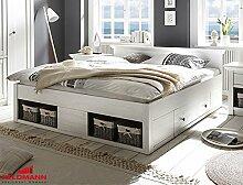 Bett Doppelbett 441046 Westerland 180x200cm mit Bettschubladen pinie weiß