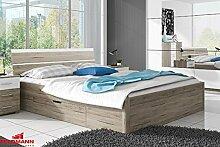 Bett Doppelbett mit Bettschubkasten 54035 eiche san remo / weiß 160 x 200cm