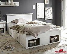 Bett Einzelbett Kojenbett 441045 Westerland 140x200cm mit Bettschubladen pinie weiß