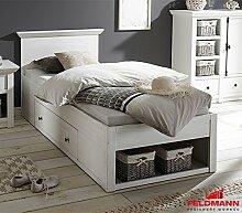 Bett Einzelbett Kojenbett Westerland 90x200cm 441044 mit Bettschublade pinie weiß